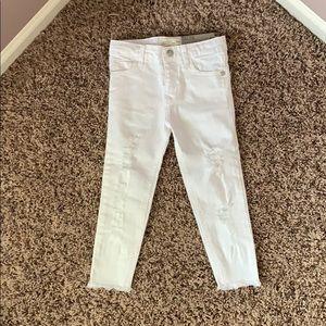 NWT Zara girls slim white jeans w/ rips size 4t